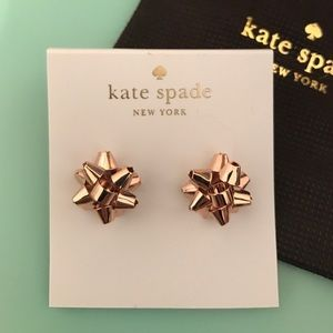 New Kate Spade Gold Bourgeois Bow Earrings